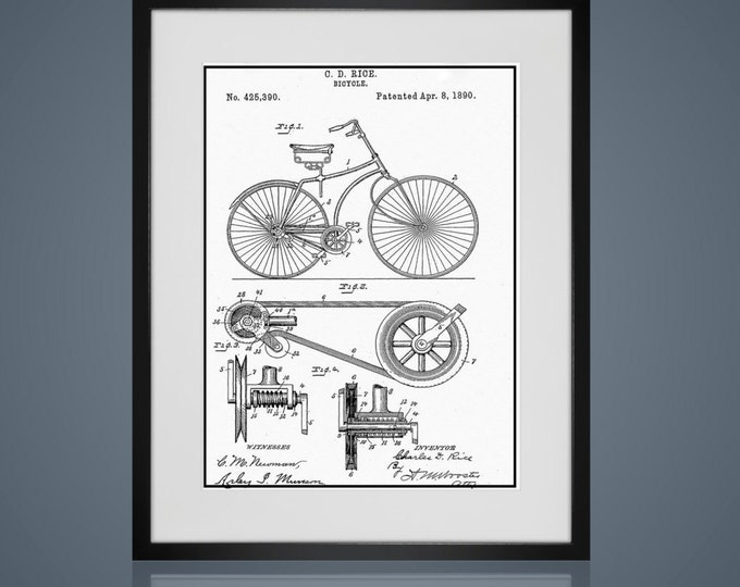 Framed Wall Art - Free Shipping -  VINTAGE BICYCLE PATENT- Wall Art Sets - Available In 4 Sizes - Choose Black or Antique White Frames