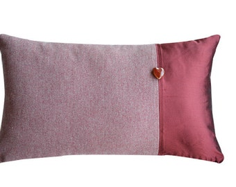 Ruby red silk decorative pillow and fabric woolen fabric decorative removable cm 30 x 55