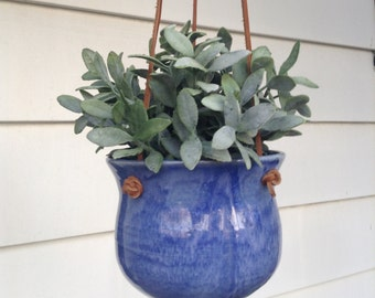 Blue Ceramic Hanging Planter, Purple Handmade Pottery Hanging Planter, Turquoise  Stoneware Planter, Hanging Plant Pot