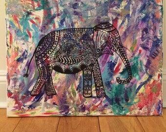 Elephant through the colors canvas