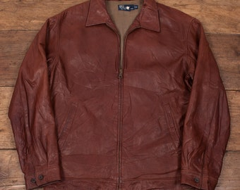 """Vintage Polo by Ralph Lauren Leather Jacket Houndstooth Lining Mens 40"""" M 2987"""