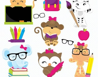 Girl School clipart, Back to School clipart, animal clipart, school house clipart, bus clipart, pencil, crayons, Commercial License Included