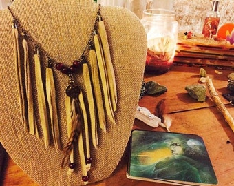Necklace - Brass Chain Suede Fringe w/ Feather Pendant & Wood Beads, Native American, Tribal, Festival, Bohemian
