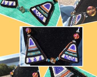 Bohemian Asymmetrical Triangles Hand-beaded Necklace