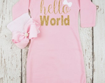 newborn girl outfit, baby girl take home outfit, baby girl layette gown, baby shower gift, hello world, newborn gift set, hospital take home