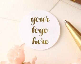 Custom Business Logo Gold Stickers - personalized business stickers - custom logo stickers - gold custom business stickers - business logo