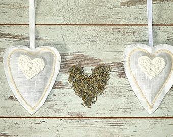 Lavender sachets - Home Fragrances heart - Scented Sachets - Wedding favors - White sachets heart - Lavender fragrances