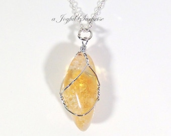 Citrine Stone Necklace, Citrine Jewelry Natural Stone Gift for Menopause November birthday present Long Short Chain Crystal Pendant charm 17