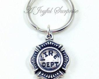 SALE Fireman's Keychain, Firefighter Key Chain, Gift for Fireman Gifts, Fireman Keyring, Fire woman Fire Dept Emblem Charm planner charm 95