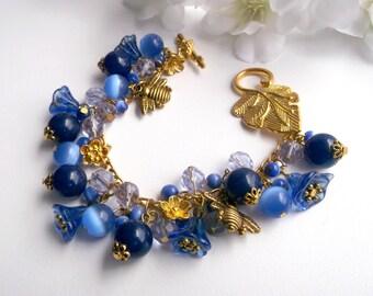 Blue flower chunky, flower bracelet, blue bracelet, botanical bracelet, floral chunky,girls bracelet, BeAliter, Design bracelet gift for