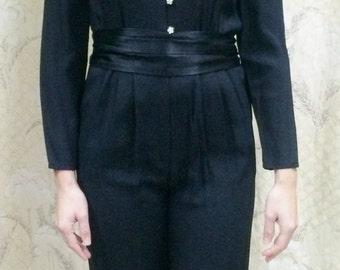 1980s Black Jumpsuit/Black Jumper