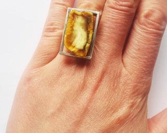 White Baltic Amber Ring, 10g