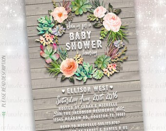 rustic baby shower invitations printable, floral cactus wreath baby shower invites wood wild flowers boho baby shower printed invites