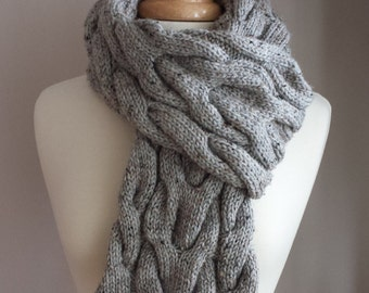 Hand Knit Scarf. Cable Knit Scarf. Tweed Scarf. Chunky, Colourful Scarf in Grey.