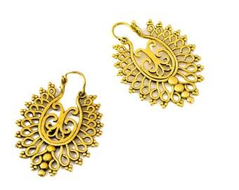 Gypsy Brass Earrings, Filigree Earrings, Boho Earrings, Tribal Earrings, Gold Earrings, Vintage Style, Ethnic Jewelry, Indian Earrings
