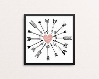 Cupid's Arrows, pink heart, square 10x10, 8x8, & 5x5 Art Decor Digital Print
