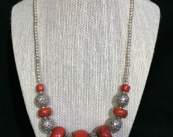Red Coral And Silver Necklace