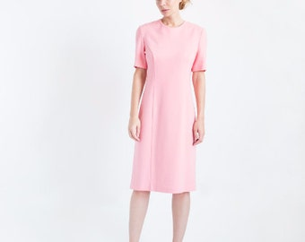 Powder Pink Wool Jersey Dress // Dress With Short Sleeves // Knee Length Dress