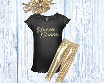 Girl's Thanksgiving Outfit Black and Gold - Girls Thanksgiving Outfit Glitter