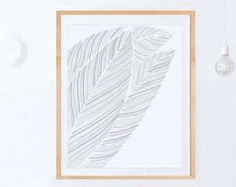 Scandinavian Decor, Modern Print, Simple Wall Art PRINTABLE ART Modern Minimalist Wall Art, Digital Print, Leaf Wall Art, Downloadable Print