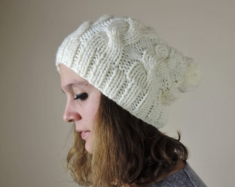 Cream (or Choose Color) Hand Knitted Beanie, Slouchy Beanie, Cable Knit Hat, Pom Pom Beanie, Mens Wool Hat, Womens Cabled Beanie