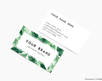Custom Business Card Design- Printable Business Card- Banana Leaf Tropical Emerald Green