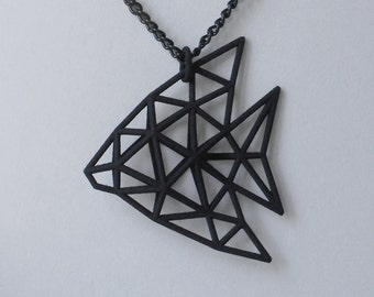 3D Printed Jewelry -  Tropical Angelfish 3 color Pendant - black, blue, purple - whit chain - made of Nylon