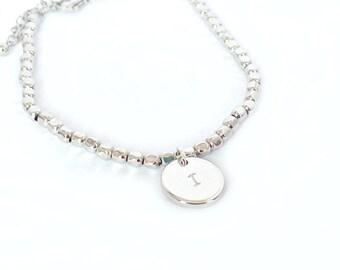 Initial bracelet, personalized disc bracelet, sterling silver bracelet, engraved bracelet, personalized bracelet, silver bracelet