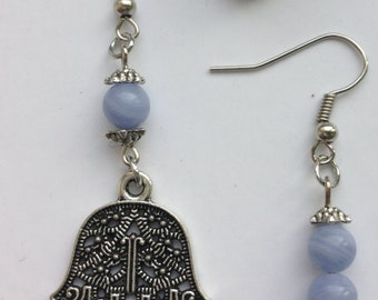 Several blue agate earrings