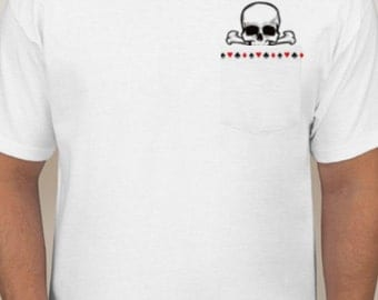 Skull and Card Suits pocket T-Shirt