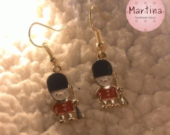 Earrings with toy soldiers