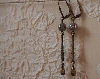Grey retro earrings