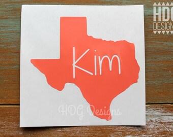 Texas Decal - Name Decal - Texas Name Decal - Texas Sticker - Texas Yeti Decal - RTIC decal - monogram decal - Texas monogram