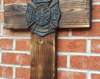 Fireman's Cross Made  From Burnt Wood