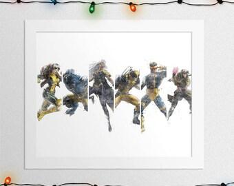 X-MEN POSTER, X-Men Print, Wolverine, Storm, Cyclops, Rogue, Beast, Gambit, Watercolor, Nursery, Print, Art, Wall Art, Digital Print