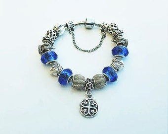 Blue Heart Pendant Charm bracelet, Silver Pendant Charm Bracelet, Blue Charm Bracelet, 925 Sterling Silver