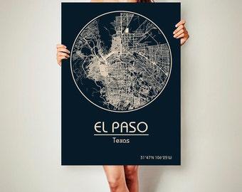 EL PASO Texas CANVAS Map El Paso Texas Poster City Map El Paso Texas Art Print El Paso Texas