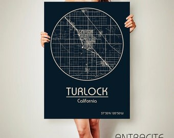 TURLOCK California Map Turlock Poster City Map Turlock California Art Print Turlock California poster Turlock California map art