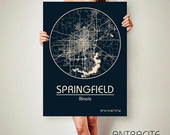 SPRINGFIELD Illinois CANVAS Map Springfield Illinois Poster City Map Springfield Illinois Art Print Springfield Illinois