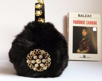 Black earmuffs with pearl inspired by Scream Queens,embellished faux fur earmuffs, OOAK ear warmers, plush ear muffs, fluffy earmuffs