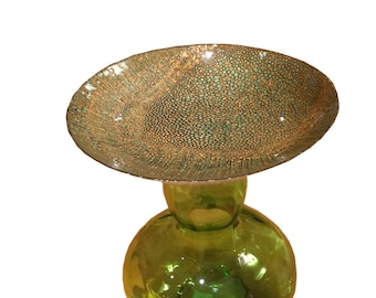 Handmade Glass Bird Bath- Lily Pad