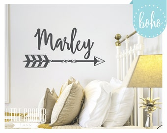 Boho Arrow Name Wall Decal | Vinyl Wall Decal Sticker | Bohemian Arrows | Small & Large_For Baby Nursery OR Kids Room_ID#1387