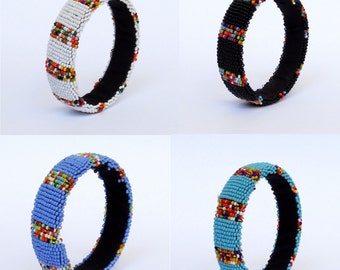 African Zulu beaded small bangle – Confetti Collection