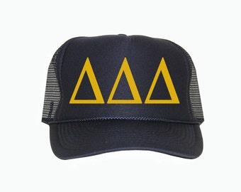 Delta Delta Delta Trucker Hat, Tri Delta Trucker Hat, Tri delt Greek Letter Glitter Trucker Hat, Sorority hat, deltadeltadelta, tridelt