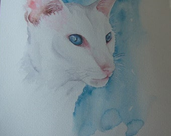 Siamese cat custom watercolour painting