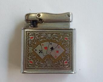 Vintage Silver COLIBRI 'Aces' Pocket Lighter W. Germany Retro