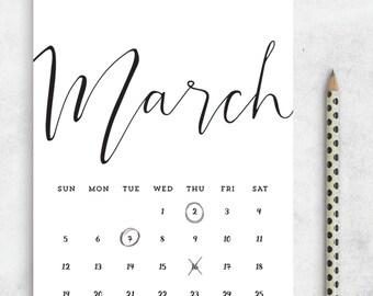 2017 Printable Calendar PDF 5x7 A4 Us Letter, Printable Calendar Minimalist, Printable Wall Calendar, Desk Manager INSTANT Download
