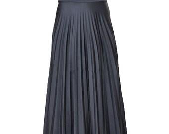 BLACK Flare Jersey Pleated Maxi Skirt | Modest Long Skirt | Islamic Clothing S M L XL 2XL 3XL 4XL