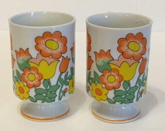 Vintage Pair of Retro Flower Pedestal Mugs | Orange, Yellow & Green