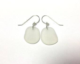 White Sea Glass Earrings - Sterling Silver - Dangle Earrings - Beach Jewelry